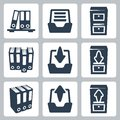 Vector archive icons set isolated Royalty Free Stock Images