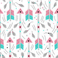 Vector arrow seamless pattwern. Cute archery elements. Traditional background. Hand drawn native american wallpaper.