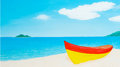 Vector art beach red orange boat on the island Stock Photo