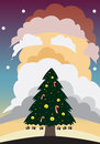 Vector art christmas tree santa cloud silhouette and claus Royalty Free Stock Photo