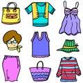 Vector art of clothes set women doodles