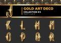 Vector Art Deco 3D Font. Shining Gold Retro Alphabet. Gatsby Sty