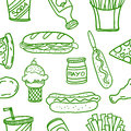 Vector art of fast food doodles Royalty Free Stock Photo