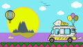 Vector art with ice cream lolly van,big sun,hot air balloon,clouds,boat,island,mountains,birds,path and sea or ocean
