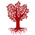 Vector art illustration of branchy tree with strong roots. Tree