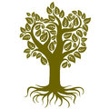 Vector art illustration of tree with strong roots.