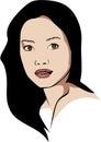 Vector Asian woman who wears no makeup