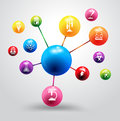Vector atom with chemistry and science icon educat Royalty Free Stock Photo