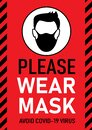 Vector attention sign, please wear mask avoid covid-19 virus black and white color on red background. warning or caution sign.