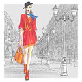 Vector attractive fashion girl goes for st peters in hat with bag in sketch style petersburg Royalty Free Stock Image