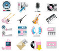 Vector audio and music icon set Stock Photography