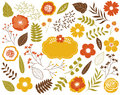 Vector Autumn Floral Set with Leaves, Flowers, Berries and Frame.  Vector Autumn Leaves and Flowers. Vector Fall. Royalty Free Stock Photo