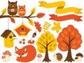 Vector Autumn Forest Set with Cute Bear, Owls, Mushrooms, Birdhouses. Vector Autumn Set. Fall Clipart Royalty Free Stock Photo