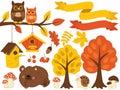 Vector Autumn Forest Set with Cute Fox, Owls, Mushrooms, Birdhouses. Vector Autumn Set. Fall Clipart Royalty Free Stock Photo