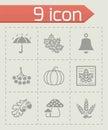 Vector Autumn icon set Royalty Free Stock Photo