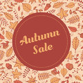 Vector autumn sale banner with pattern containing leaves and acorns. Flyer template for your design.