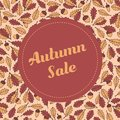 Vector autumn sale banner template with pattern containing oak leaves and acorns Royalty Free Stock Photo