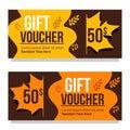 Vector autumn sale gift voucher coupon card template
