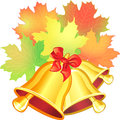 Vector autumn scene with a maple leaf and the scho red green yellow orange school bell on white background Stock Photography