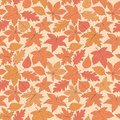 Vector autumn seamless pattern with oak, poplar, beech, maple, aspen and horse chestnut leaves of orange and red colors Royalty Free Stock Photo