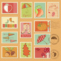 Vector autumn stamps