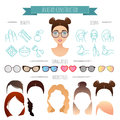 Vector avatar constructor hairstyles sunglasses beauty icons for your design for your design Royalty Free Stock Photos