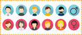 Vector avatar profile icon set - set of people faces icons