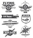 Vector aviation badges, avia club emblems, airplane logos set Royalty Free Stock Photo