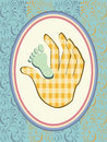 Vector baby boy announcement card Stock Images