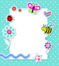 Vector baby boy card with scrapbook elements Royalty Free Stock Photos