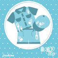 Vector baby boy scrapbook card Stock Photo