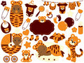 Vector Baby Boy Set with Tiger Pattern. Vector Baby Shower. Royalty Free Stock Photo