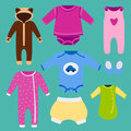 Vector baby clothes icon set design textile casual fabric colorful dress child garment wear illustration.