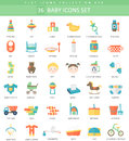 Vector Baby color flat icon set. Elegant style design Royalty Free Stock Photo