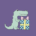 Vector baby croc. Cartoon illustration