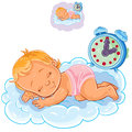 Vector baby in a diaper is sleeping on the cloud
