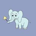 Vector baby elephant. Cartoon illustration Royalty Free Stock Photo
