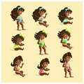 Vector baby girl portrait collection isolated. Royalty Free Stock Photo
