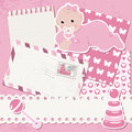 Vector baby girl scrapbook Royalty Free Stock Photography