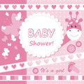 Vector baby girl scrapbook card Royalty Free Stock Image