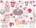 Vector Baby Girl Set with Giraffe Pattern. Vector Baby Girl. Royalty Free Stock Photo