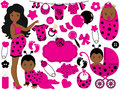 Vector Baby Girl Set with Ladybug Pattern. Vector African American Baby Girl. Royalty Free Stock Photo