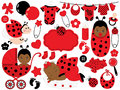 Vector Baby Girl Set with Ladybug Pattern. Vector African American Baby Girl. Vector Ladybug. Royalty Free Stock Photo