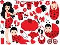 Vector Baby Girl Set with Ladybug Pattern. Vector Baby Girl. Vector Baby Shower.