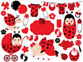 Vector Baby Girl Set with Ladybug Pattern. Vector Baby Girl. Vector Baby Shower. Royalty Free Stock Photo