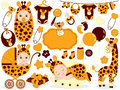 Vector Baby Set with Giraffe Pattern. Baby Shower Vector Illustration. Royalty Free Stock Photo
