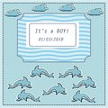 Vector baby shower greeting card. Text It`s a  boy. Sea, dolphin Royalty Free Stock Photo