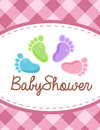 Vector baby shower invitation colorful feet Stock Image