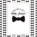 Vector Baby Shower Invitation Template with sparkle golden stars, bow tie
