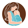 Vector Babywearing Round Logo With Mother Hugging Baby In a Sling. Simple lineart style. Royalty Free Stock Photo